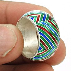Indian HANDMADE Jewelry 925 Solid Sterling Silver Inlay Band Ring Size 6.5 BE31