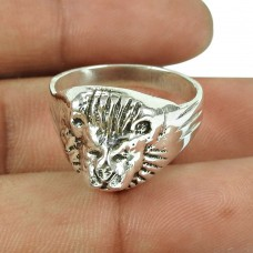Solid 925 Sterling Silver Lion Ring