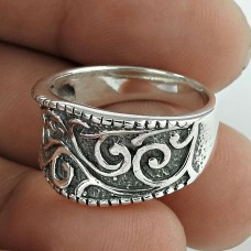 Natural Beauty! Oxidized 925 Sterling Silver Ring Fabricante