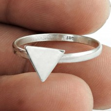 Natural !! 925 Sterling Silver Triangle Ring Jewellery