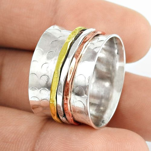Delicate Light Solid 925 Sterling Silver Spinner Ring