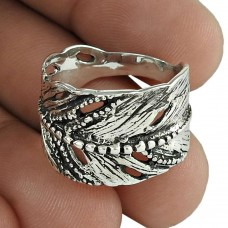 Nice Looking Oxidized 925 Sterling Silver Leaf Ring