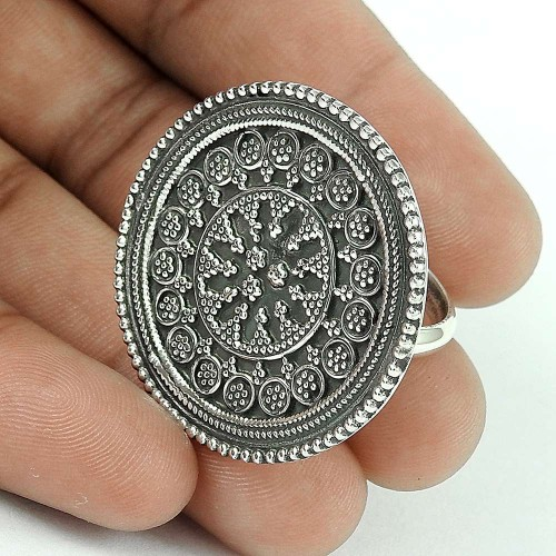 Oxidized 925 Sterling Silver Ring Traditional Jewelry