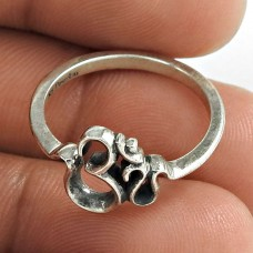 Indian Fashion Oxidized 925 Sterling Silver OM Ring