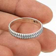 Handmade Band Solid 925 Sterling Silver Ethnic Ring Size 5.5 SK60