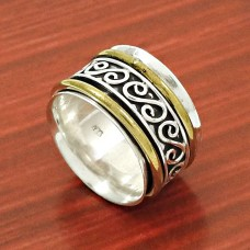 Scrumptious Solid 925 Sterling Silver Spinner Ring Size 6 Traditional Jewelry C93