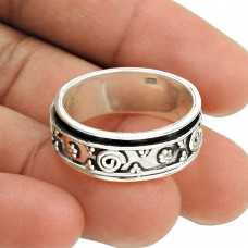 Possessing Good Fortune Solid 925 Sterling Silver Spinner Ring Size 10 Vintage Jewelry T96