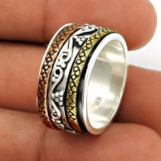 Pleasing Solid 925 Sterling Silver Spinner Ring Size 8 Traditional Jewelry B95