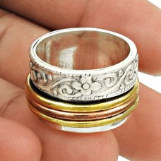Amusable Solid 925 Sterling Silver Spinner Ring Size 9 Traditional Jewelry C94