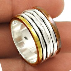 Beautiful Solid 925 Sterling Silver Spinner Ring Size 8 Ethnic Jewelry T98