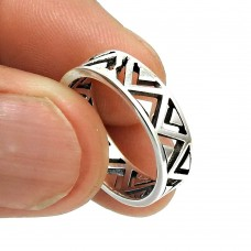 Solid 925 Sterling Silver Ring Tribal Band Jewelry R29