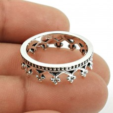 Indian HANDMADE Jewelry 925 Solid Sterling Silver Crown Ring Size 9 WW15