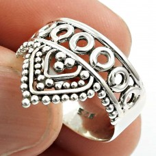 Solid 925 Sterling Silver Crown Ring Ethnic Jewelry C71