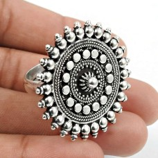 Solid 925 Sterling Silver Artisan Ring Traditional Jewelry P72