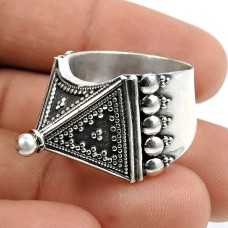 Solid 925 Sterling Silver Ring Indian Jewelry V72