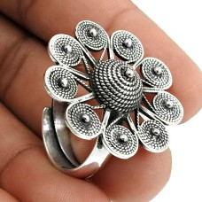 Solid 925 Sterling Silver Ring Vintage Look Jewelry V73