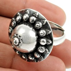 Solid 925 Sterling Silver Ring Ethnic Jewelry E74