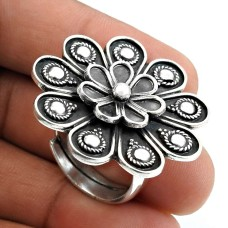 Solid 925 Sterling Silver Flower Ring Vintage Look Jewelry P74