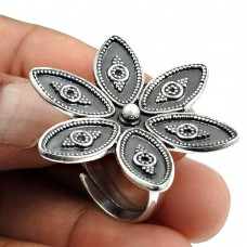 Solid 925 Sterling Silver Flower Ring Handmade Indian Jewelry V74