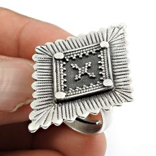 Solid 925 Sterling Silver Ring Vintage Look Jewelry D76