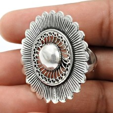 Solid 925 Sterling Silver Ring Handmade Indian Jewelry J76