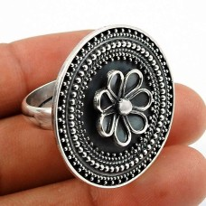 Solid 925 Sterling Silver Ring Indian Jewelry B77