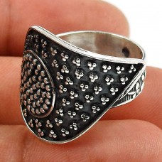 Solid 925 Sterling Silver Ring Vintage Look Jewelry H77