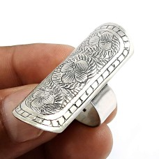 Indian HANDMADE Jewelry 925 Solid Sterling Silver Vintage Style Ring Size 9 F33