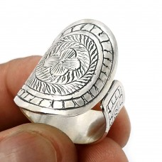 HANDMADE Jewelry 925 Solid Sterling Silver Antique Look Artisan Ring Size 8 G33