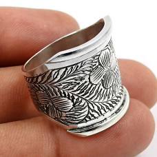 Antique Artisan Ring Size 8 925 Solid Sterling Silver HANDMADE Jewelry C34