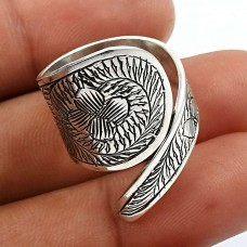 HANDMADE Indian Jewelry 925 Solid Sterling Silver Artisan Ring Size 7 J34