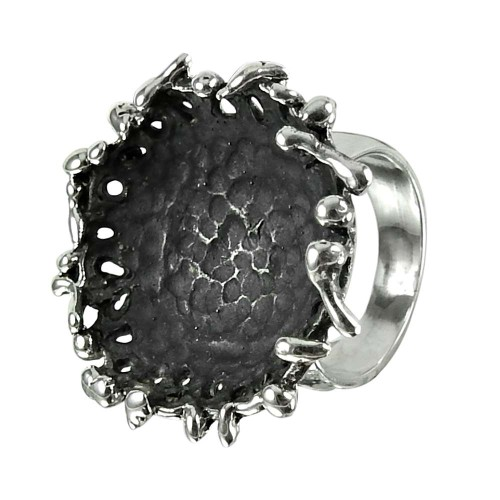 Charming Oxidised Sterling Silver Handmade Ring