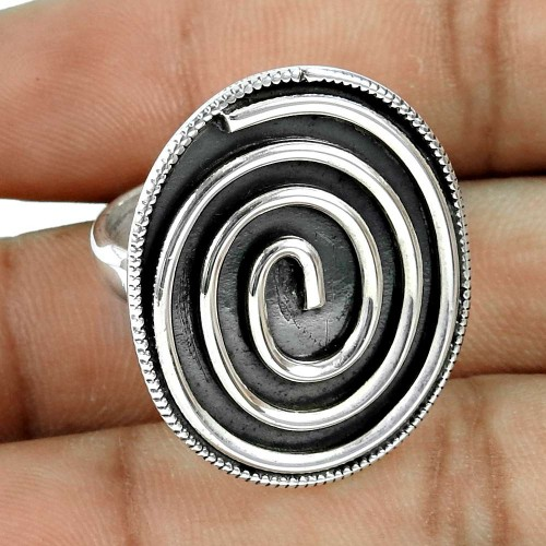 Pleasing Oxidised 925 Sterling Silver Ring Handmade Fashion Jewellery