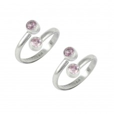 Love Circle ! Pink CZ 925 Sterling Silver Toe Rings