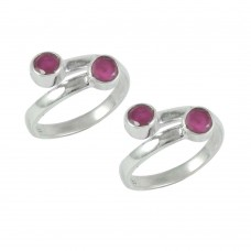 Deluxe ! Natural Ruby Gemstone 925 Sterling Silver Toe Rings