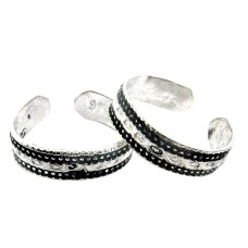 Two Tones Royal Dark !! 925 Sterling Silver Toe Rings