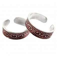 Two Tones Royal Dark ! 925 Sterling Silver Toe Rings