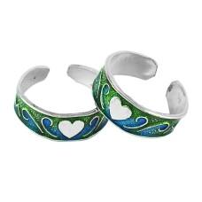 Pale Beauty !! 925 Sterling Silver Enamel Toe Rings