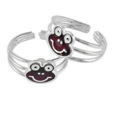 Teddy Design 925 Sterling Silver Enamel Toe Rings