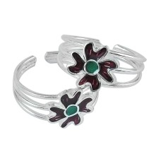 Flower Design 925 Sterling Silver Enamel Toe Rings