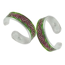 925 Sterling Silver Vintage Jewelry Inlay Handmade Toe Rings Wholesaler