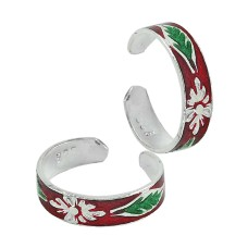 Sterling Silver Indian Jewelry High Polish Inlay Handmade Toe Rings
