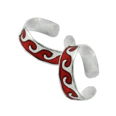 Sterling Silver Jewelry Beautiful Inlay Handmade Toe Rings
