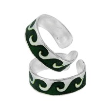 925 Sterling Silver Indian Fashion Jewelry Traditional Inlay Handmade Toe Rings
