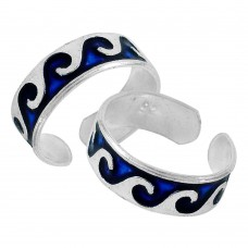 925 Sterling Silver Fashion Jewelry Ethnic Inlay Handmade Toe Rings