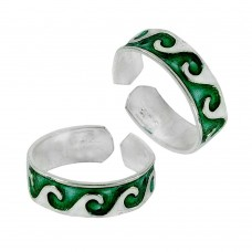 925 Sterling Silver Jewelry Beautiful Inlay Handmade Toe Rings
