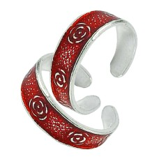 925 Silver Jewelry Traditional Inlay Handmade Toe Rings Fabricant