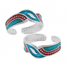 Indian Sterling Silver Jewelry Fashion Inlay Handmade Toe Rings