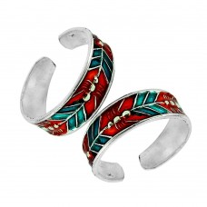 925 Silver Jewelry Beautiful Inlay Handmade Toe Rings