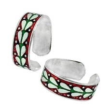 Sterling Silver Jewelry Fashion Inlay Handmade Toe Rings